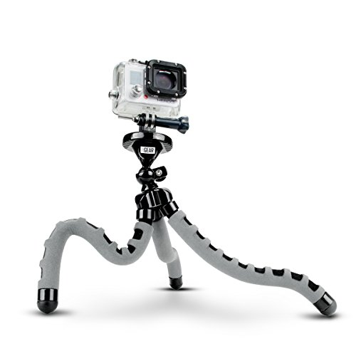 Flexible Tripod for Action Camera by USA Gear for GoPro HERO 6 Black , HERO5 Black/Session , AKASO EK7000 & Garmin VIRB Ultra 30 w/Bendable Wrapping Legs, Articulating Ball Head & Quick-Release Plate