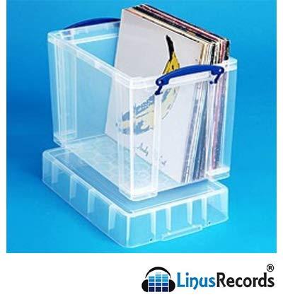 LinusRecords Opbergdoos van transparant kunststof met deksel en mouwen voor 50 LP's 33 omwentelingen vinyl 12 inch