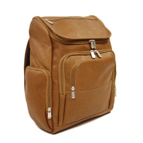 Piel Leather Multi-Pocket Laptop Backpack, Saddle, One Size