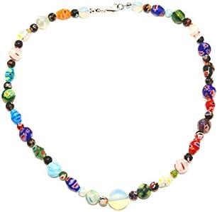 Holibanna Collar de Cuentas Hechas a Mano Collar de Cristal de Murano Flor Multicolor Collar de Ópalo Collar de Gargantilla DIY Joyería para Mujeres