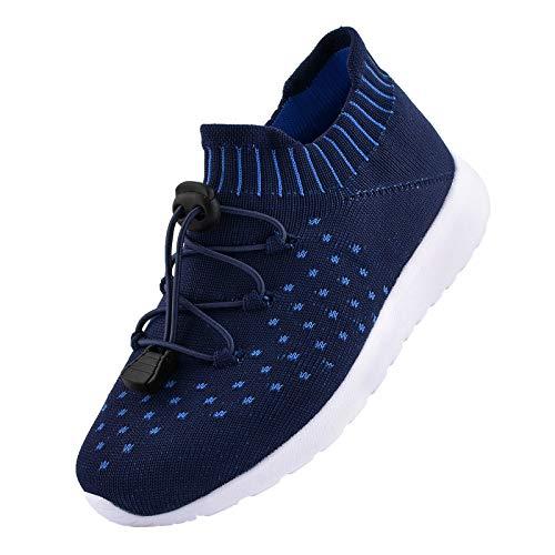 riemot Zapatillas Deportivas para Niño Niña, Zapatos para Correr Deporte al Aire Libre Running Súper Ligeras y Antideslizante Transpirables Sneakers Calzado Casual, Azul EU 31