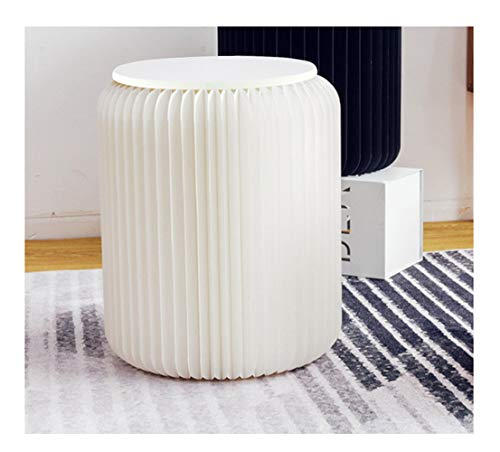 Modern White Paper Stool Foldable - 11 inch Heigh - Compact, Sturdy & Portable Honeycomb Structure Low Stool Chair for Fitting Room, Exhibition Halls, Shopping Malls, Office