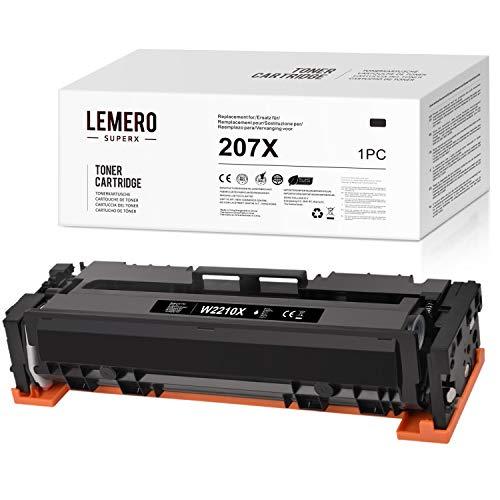 LEMERO SUPERX 207XKein Chip Kompatibel fur HP W2210X Tonerkartuschen fur HP Color Laserjet Pro M255dw MFP M282nw M283cdw M283fdw Drucker 1xSchwarz