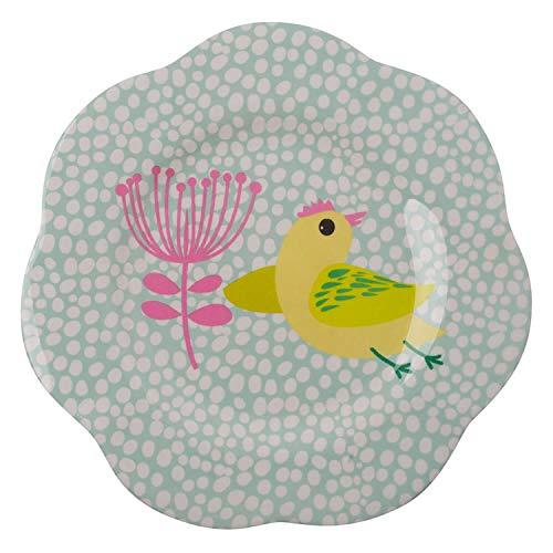 Overbeck and Friends Assiette Poppy en mélamine - Jaune/menthe/rose - 22 cm - Vaisselle pour enfant - Cadeau de fête des mères - Passe au lave-vaisselle - Sans BPA