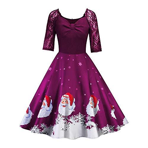 VEMOW Herbst Mode Elegant Damen Abendkleid Frauen V-Ausschnitt Bänder Frohe Weihnachten Weihnachtsmann Print Party Dating Midi Kleid(X2-Violett, 38 DE/XL CN)