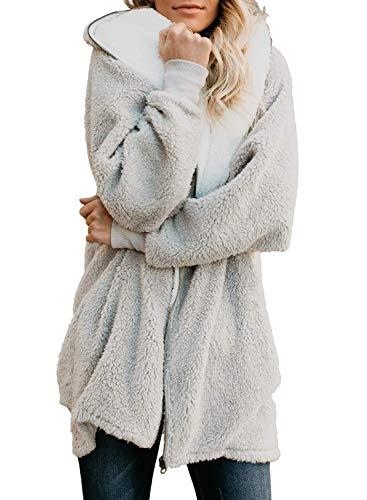 ReachMe Women's Oversized Full Zip Up Sherpa Hoodie Fleece Jacket with Pockets(Light Grey,M)