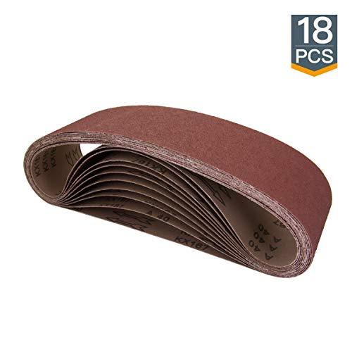 POWERTEC 110118 4 x 36 Inch Sanding Belts | Aluminum Oxide Sanding Belt Assortment, 3 Each of 60 80 120 150 240 400 Grits | Premium Sandpaper for Belt Disc Sander – 18 Pack