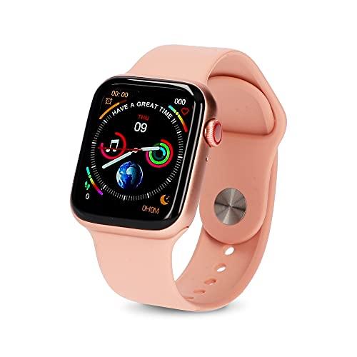 """KSIX Reloj Inteligente Urban 2 para Mujer Rosa y Dorado. Smartwatch Táctil 1.75"""" IPS Impermeable con Bluetooth. Pulsera de Actividad para Android iOS con Podómetro, Pulsómetro y Monitor de Sueño"""