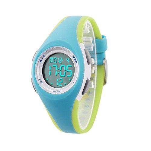 Montre Enfant Garon Fille Adolescent Digitale Outdoor Sport Multifonction tanche LED Lumire Alarme Calendrier Date avec Bande Montre (Blue -Green)