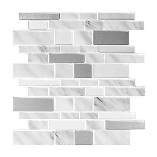 "Peel and Stick Backsplash for Kitchen, Stick on Wall Tiles Self Adhesive Tile Backsplash, Thicker Upgrade Design 12"" X 12"" (10 Sheets)"