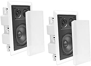 Pyle in-Wall/in-Ceiling Dual 8.0'' Enclosed Speaker Systems, 2-Way Flush Mount Stereo Speakers (Pair)