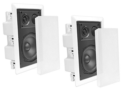 Ceiling Wall Mount Enclosed Speaker - 400 Watt Stereo In-wall / In-ceiling 8' Enclosed Full Range Deep Bass Speaker System - 50Hz-20kHz Frequency Response, 4-8 Ohm, Flush Mount - Pyle PDIW87 White