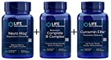 Life Extension Neuro-Mag Magnesium L-Threonate - 90 Vegetarian Caps, Life Extension Curcumin Elite Turmeric Extract, Life Extension Super Bio-Curcumin Turmeric Extract (Bundle of 3) with free ice gel
