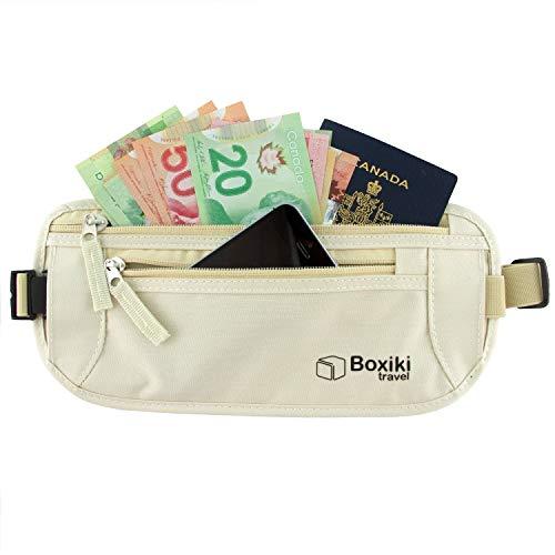 Praktisch unsichtbarer Geldgürtel für Frauen mit RFID-Blockiertechnologie / Sichere Hülle für Reisepass & Geld (Beige)
