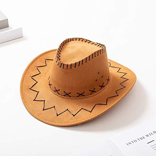 lijun - Sombrero de Vaquero de Fieltro Rojo para niños, Cosplay para Adultos, Sombrero para el Sol al Aire Libre