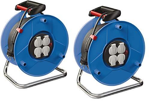 Brennenstuhl Garant Kabeltrommel (25m - Spezialkunststoff, Einsatz im Innenbereich, Made In Germany) blau 2er Pack