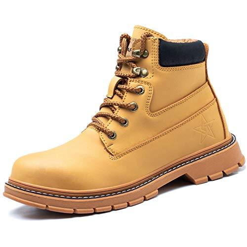 COOU Botas de Seguridad Para Hombre S3 Ligeras Zapatillas de Trabajo con Punta de Acero Antideslizantes Zapatillas de Seguridad Industrial y Deportiva