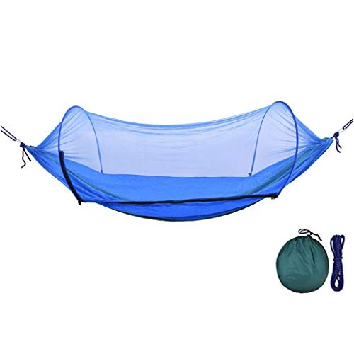 zlw-shop Hamaca de Viaje Camping al Aire Libre Columpio Hamaca con Mosquitera Hamaca Columpio portátil for Que acampa yendo de Viaje (Azul) Columpio Niños Adultos (Color : Blue)