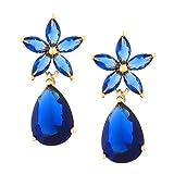 TEMPUS FUGIT. Pendientes Flor de Primavera. Diseño de joyería clásica. Con cristales de colores brillantes. Incluye una caja para regalo