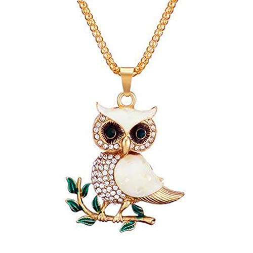 Jsgcf Crystal Owl Necklace Pendant for Key Ring Handbag Cute Animal Shape Metal Hanging Accessory