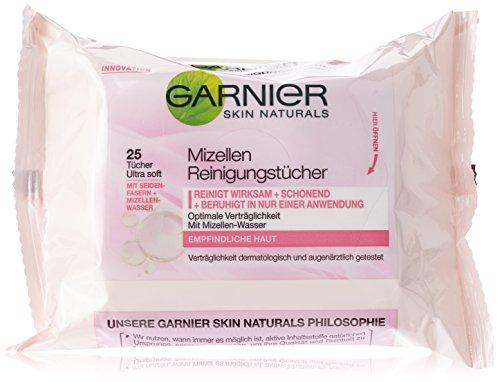 Garnier Mizellen Reinigungstücher, reinigen wirksam und schonend und beruhigen in nur einer Anwendung, für empfindliche Haut, 1er-Pack (1 x 25 Stück)