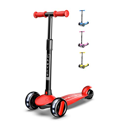 comparador Sawyer – Scooter ajustable con ruedas LED – 2-8 años (rojo)