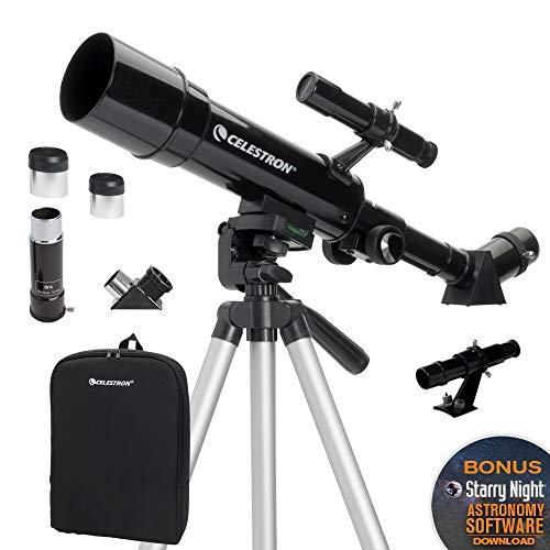 Celestron - 50mm Travel Scope - Portable Refractor Telescope - Fully-Coated Glass Optics - Ideal Telescope for Beginners - BONUS Astronomy Software Package