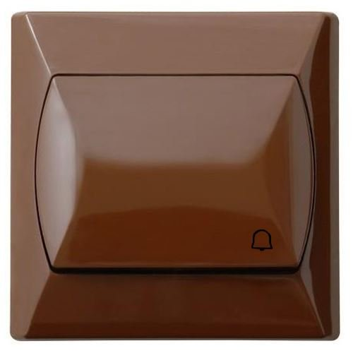 Eenvoudige grote knop basislegende reactieve deurbel schakelaar plaat bruin