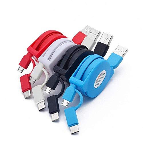 Hipooo - Cable Micro USB y Tipo C retráctil 2 en 1 para Sam