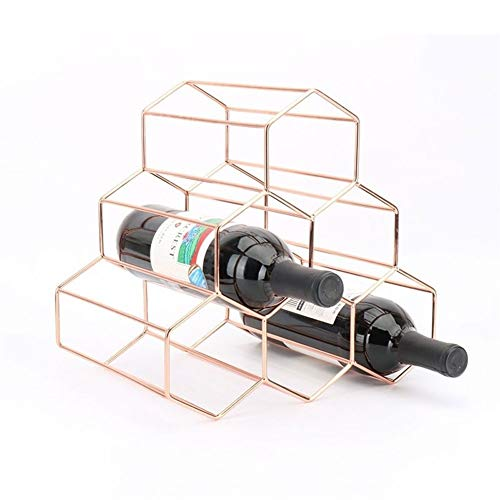 XYW Botella de Vino Bastidor Estante del Vino - Nordic Arte del Hierro Estante del Vino de la Botella 6 botellero Cocina Estante del Vino Caja de Almacenamiento Exquisita decoración práctica