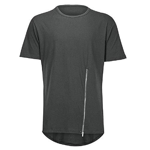 Camiseta de manga corta para hombre con cremallera en el pecho, con dobladillo de arco Gris gris L