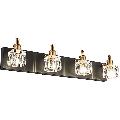 PRESDE Bathroom Vanity Light Fixtures Over Mirror Black Modern LED 4 Lights Wall Mirror Lighting(Exclude Bulb)