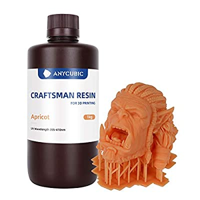 ANYCUBIC 405nm SLA Craftsman Resin UV-Curing 3D Printing Liquid with High Precision and Quick Curing & Excellent Fluidity (Apricot, 1000g)