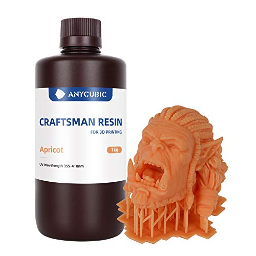 Anycubic Wax Resin UV Cure Photosensitive Resin for SLA/LCD 3D Printer, 355nm-410nm 3D Printer Resin for Jewelry Design, Anime Figure Design, 1000ml Apricot