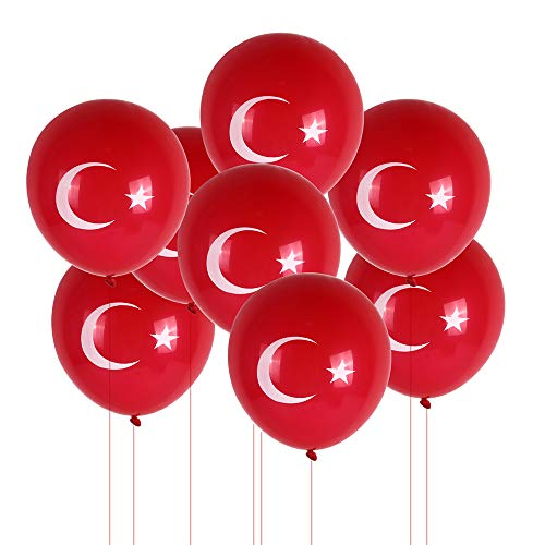 GiftShopMunich Rote Türkei Luftballons mit weißer Türkischer Flagge - z.B. für Türkischen Nationalfeiertag   Cumhuriyet Bayramı - 10er Packung