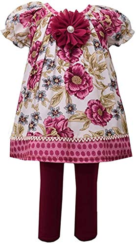 Bonnie Jean Girls Easter Outfit - Pink Leggings Set for Baby Toddler and Little and Big Girls (3T, Burgundy Floral Pants Set)