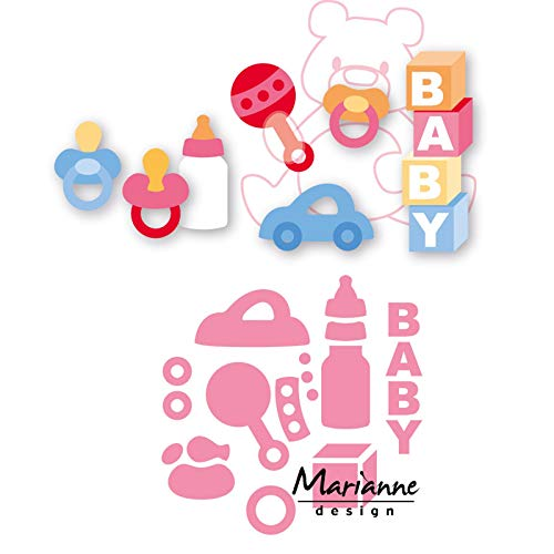 Marianne Design Collectables Troqueles Accesorios de Bebé, Metal, Rosa, 21.1x15.4x0.1 cm