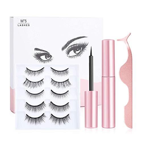 Magnetic Eyelashes - 3D Magnetic Eyelashes with Eyeliner Kit, 5 Pairs Reusable Eyelashes Natural Look, Magnetic Eyeliner and Lashes with Applicator - no Glue Needed
