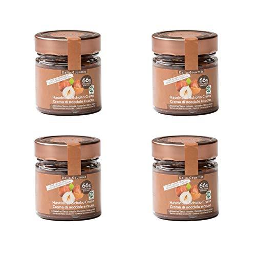Crema di nocciole e cacao (4x200g) con 66% di nocciole - senza aggiunta di zuccheri e Vegan - prodotto artigianale italiano