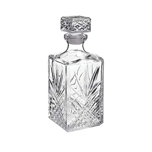 Bormioli Rocco Selecta Collection Whiskey Decanter – Sophisticated 33.75oz Diamond Decanter With Starburst Detailing – For Whiskey, Bourbon, Scotch & Liquor