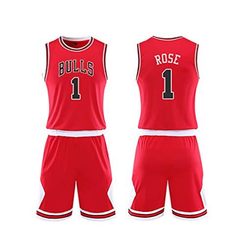LJWLCH Geschenk für Derrick Rose Fans No.1 Basketball Trikot Kinder Jungen Herren Männer Sportbekleidung weißen Anzug Turnhalle Sport Weste Shorts 2 Stück Frauen Damen Sweatshirt rot-red-L