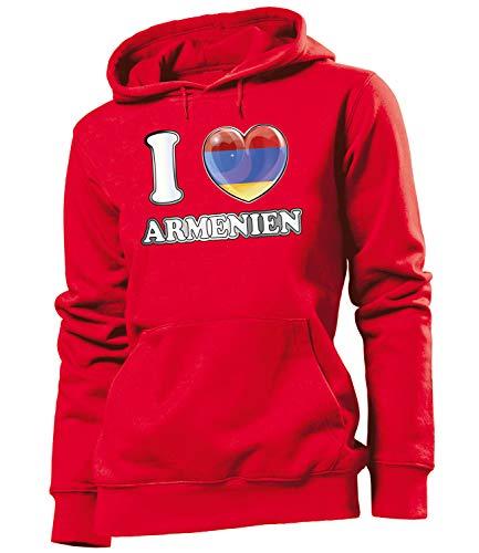Golebros Armenien Armenia Fan Artikel 6412 Fuss Ball EM 2020 WM 2022 Hoodie Pulli Sweatshirt Kapuzen Pullover Flagge Fahne Frauen Damen World Cup L