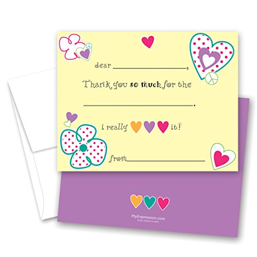 20 Loving Hearts Kids Fill-in Birthday Thank You Cards