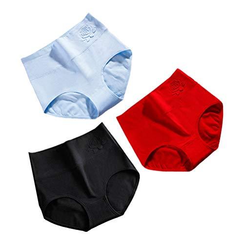 TENDYCOCO 3pcs Culottes de Coton Taille Haute Culottes puerpales pour Femme Femme (Noir, Bleu, Rouge, Taille: XXL)