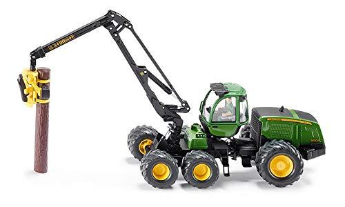 SIKU 4059, John Deere Harvester Holzvollernter, 1:32, Metall/Kunststoff, Grün, Flexibel drehbarer Arm, Inkl. 4 Kunststoff-Holzstämmen