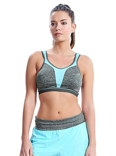Freya Women's Force Crop Top Soft Cup Sports Bra with Molded Inner, Carbon, 28H