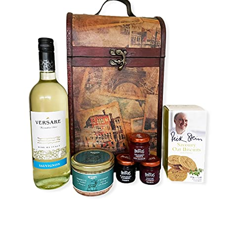 The Premium Clarendon Vintage Style Keepsake Chest Gift Food Hamper with 750ml Versare Sauvignon Blanc White Wine - Gift Ideas for Mum, Mothers Day, Valentines, Birthday, Anniversary, Business gifts, Corporate, Dad, Fathers Day, him, her
