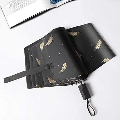 ZGMMM dames paraplu regen en zon vouwen strand kleine parasol parasol vrouwelijk parasol zwart zwart