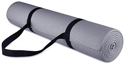 BalanceFrom GoYoga All Purpose High Density Non-Slip Exercise Yoga Mat with Carrying Strap, 1/4', Grey