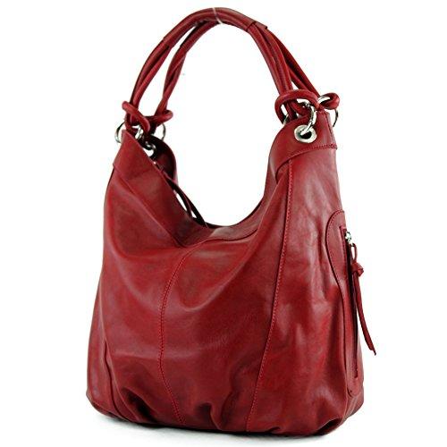 modamoda de - Z18 - ital Damenhandtasche aus Leder/Nappaleder, Farbe:Dunkelrot